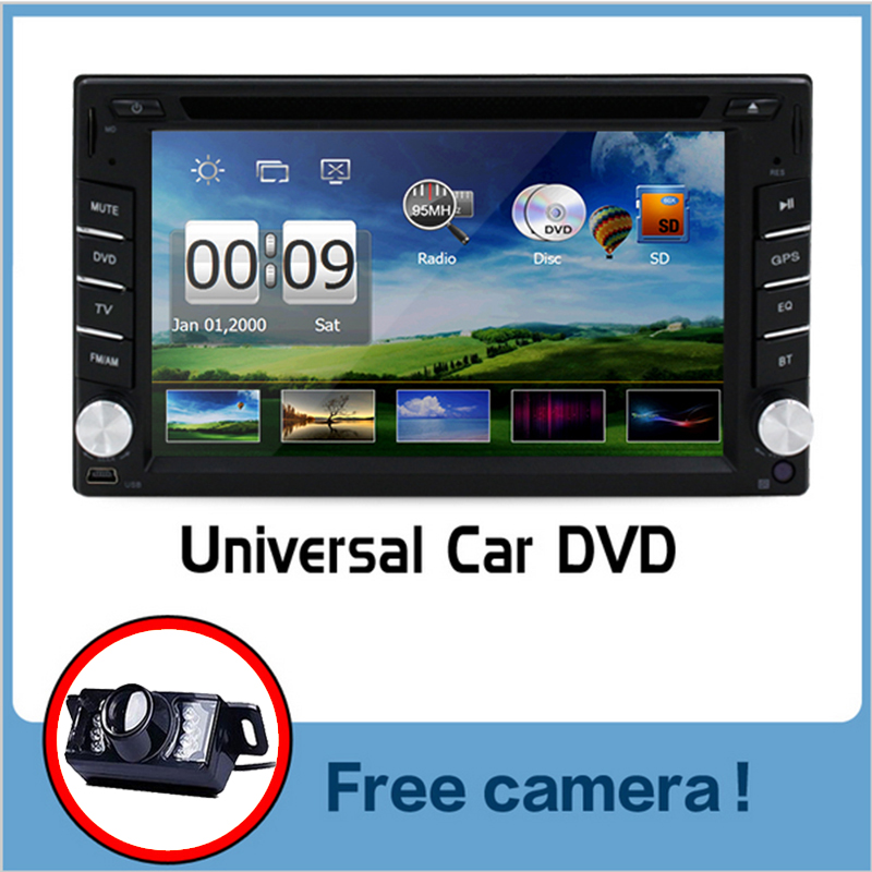 Double 2 din universal Car Radio Car DVD Player GPS Navigation In dash Car Bluetooth Stereo video Free Map + Free Rear Camera(China (Mainland))