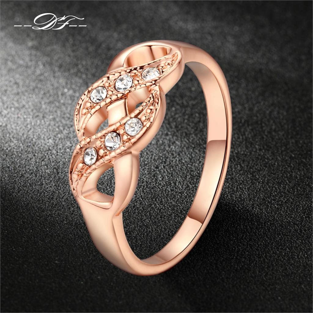Creepers CZ Diamond Vintage Finger Rings 18K Rose Gold Plated Fashion Wedding Ring Jewellery/Jewelry For Women Wholesale DFR334(China (Mainland))