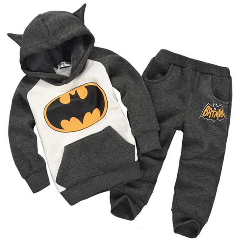 Retail New Fashion 2015 Children Outfits Tracksuit Batman Clothing Children Hoodies + Kids Pants Sport Suit Boys Clothing Set(China (Mainland))