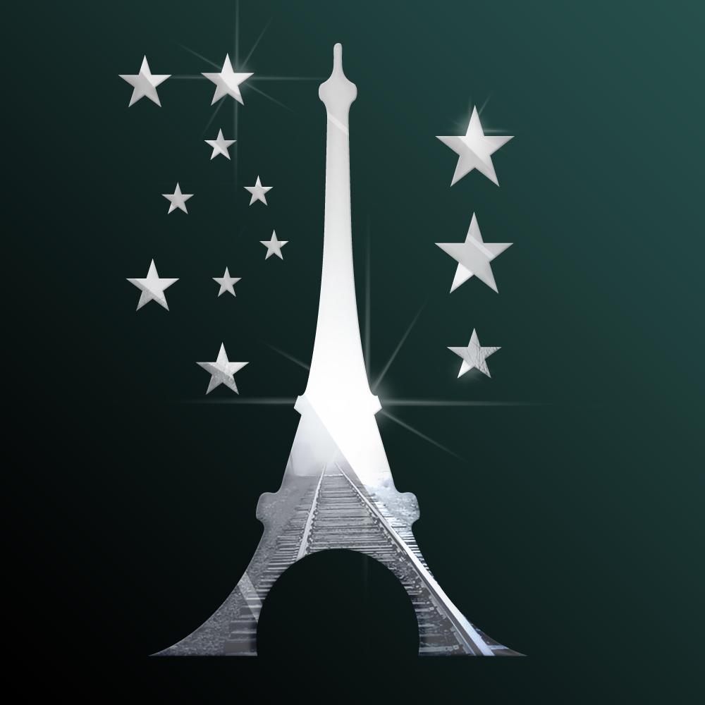 Curso Artesanato Goiania ~ Listed in Stock Espelho Adesivo De Parede 40x28cm 16x11in DIY Torre Eiffel Com Estrelas Stencils
