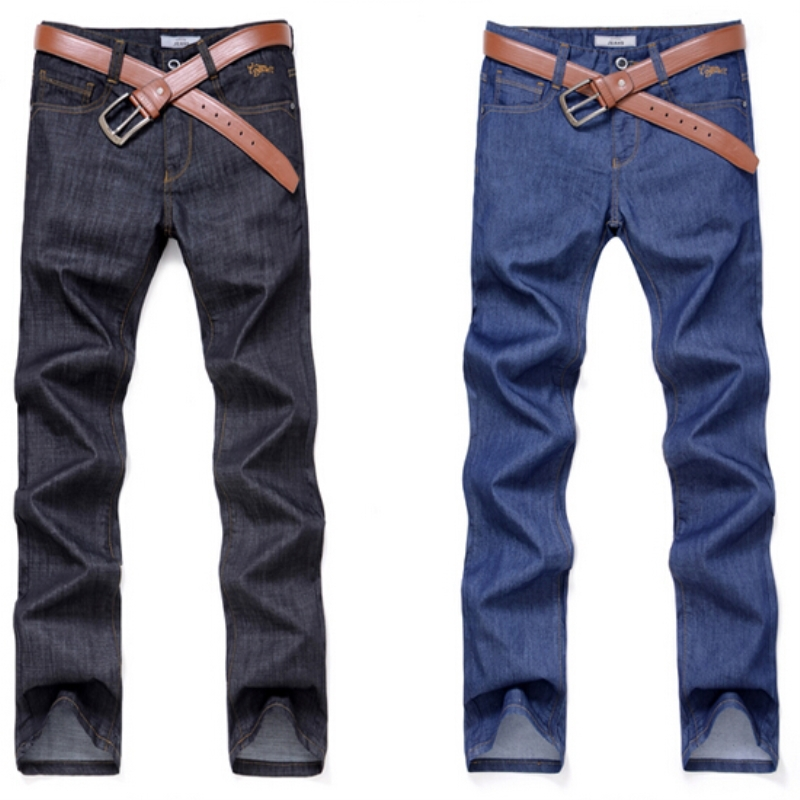 Free shipping primaries canshow blue black jeans men thin summer clothing water wash straight jean mid waist long pants casual(China (Mainland))