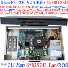 1U Firewall Router Quad Core Xeon E3 1230 V2 3 3 Ghz con 6 1000 M