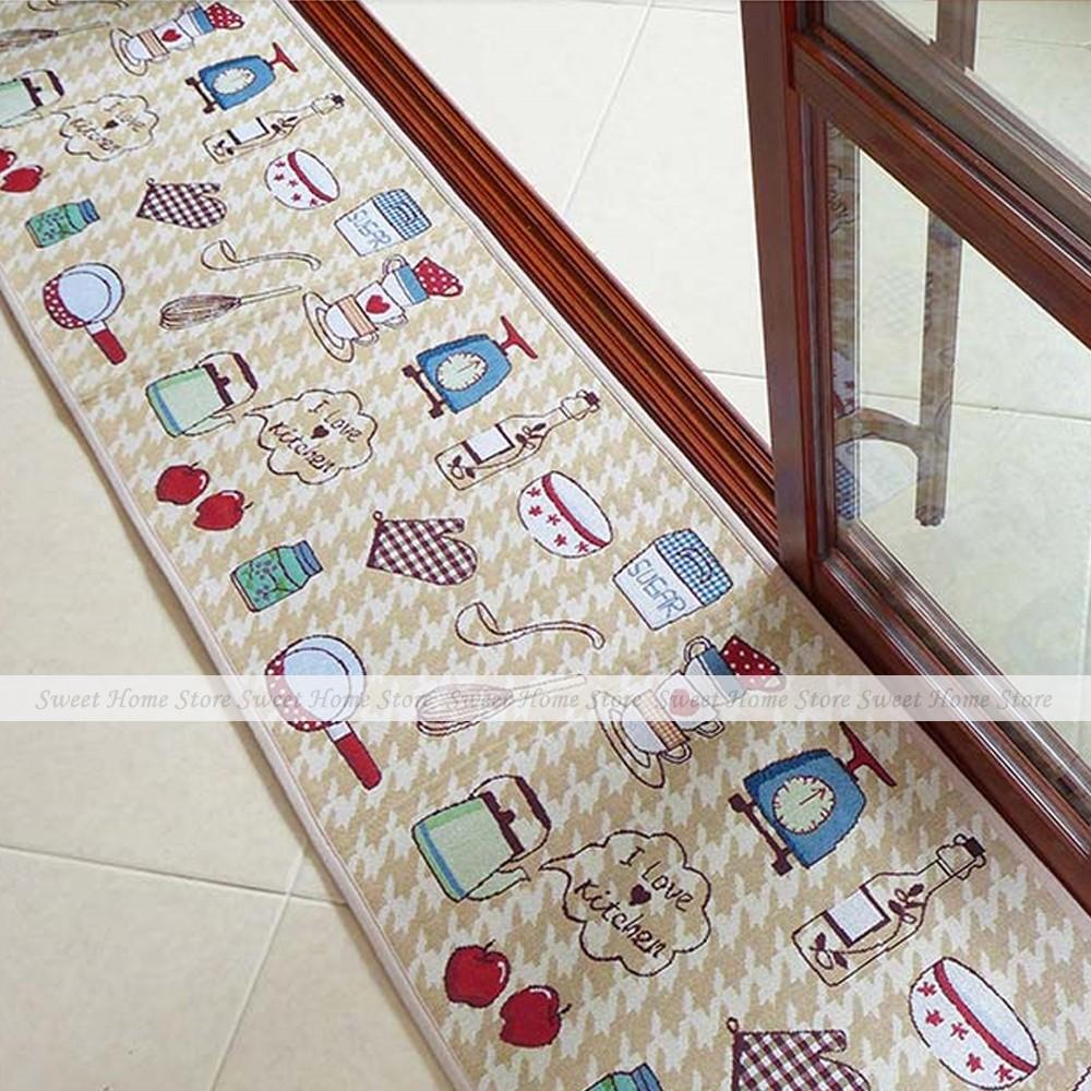 yazi Kitchen Theme Soft Fabric Floor Carpet Bedroom Kitchen Runner Rug Mat 235x45cm(China (Mainland))