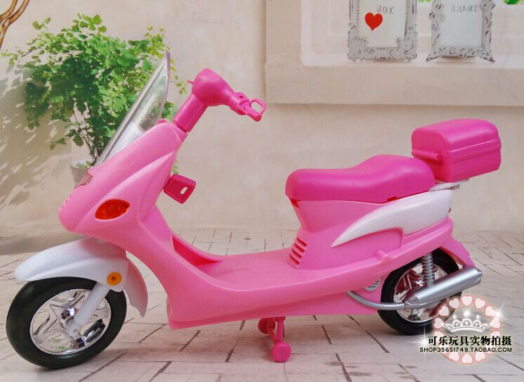 Pink Motorcycle Set / Baby Toy Dolls Simulation Vehicle Model with Light for Barbie Kurhn Doll Pretend Play Furniture Gift<br><br>Aliexpress