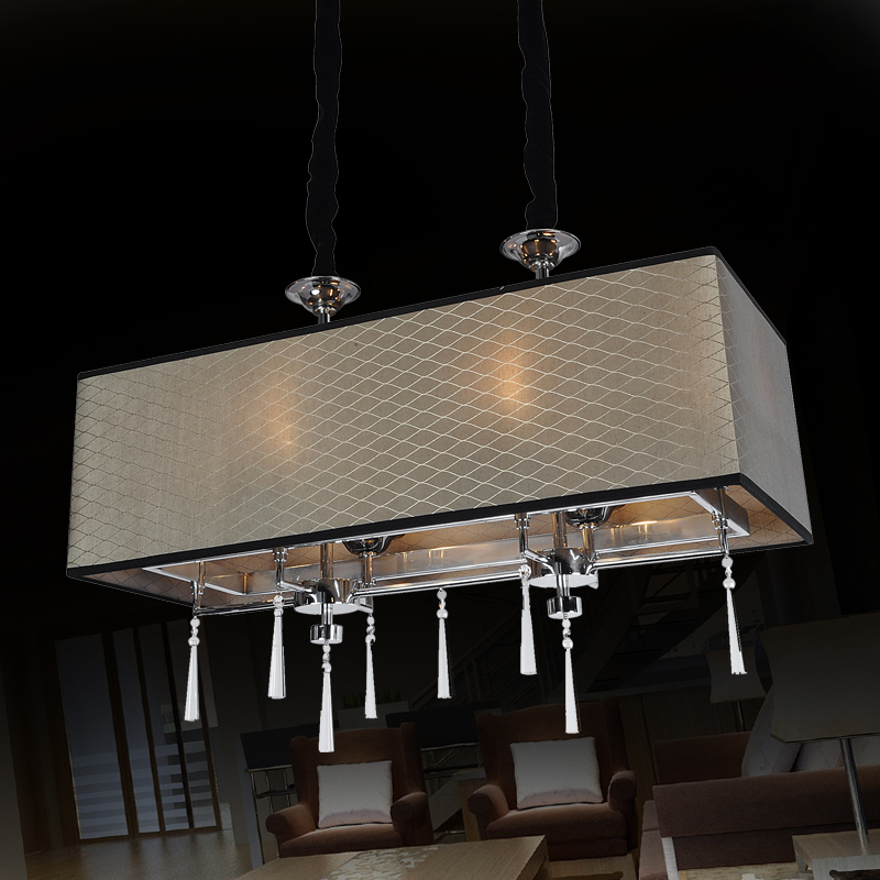 Rectangular Crystal Chandeliers Creative Leather Dining Room Lights