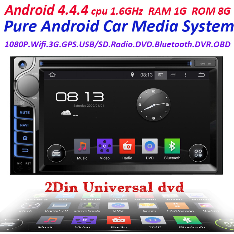 100% New universal Car Radio Double 2 din Car DVD Player GPS Navigation In dash Car PC Stereo Head Unit video+Free Map(China (Mainland))