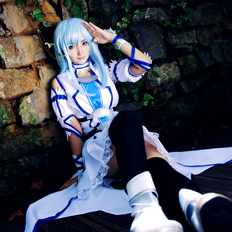 Yuuki Asuna Cosplay Sword Art Online ALO SAO Undine Avatar Titania Anime White Blue Uwowo Costume Dress - UWOWO store