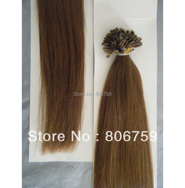"""1g/s 18"""" 20"""" 22"""" 24"""" Indian remy Keratin nail tip hair/ U tip hair extension #6 chestnut brown color 100gram/pack"""