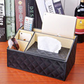 Fashion Leather Car Tissue Storage Box Luxury PU Leather Remote Control Phone Holder Home Organizer Storage