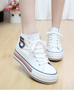 High new large base sponge canvas shoes High flat for shoes Han edition of students for women's shoes canvas Sneakers(China (Mainland))
