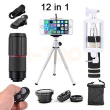 Buy 12in1 Phone Camera lentes Fisheye Wide Angle Macro Lenses 8X Zoom Telephoto Lens Telescope iPhone redmi 2 3 S 4 note 3 MI6 5 for $14.57 in AliExpress store