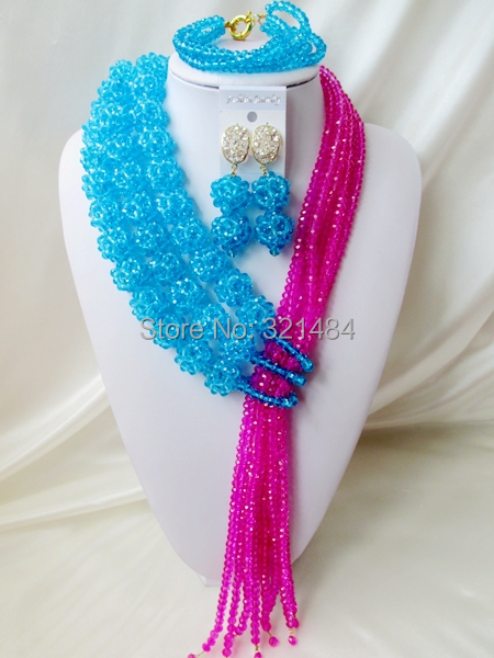 Gorgeous! Ball Design Turquoise Blue Fuchsia Pink Crystal Costume Necklaces Nigerian Wedding African Beads Jewelry Set VC500<br><br>Aliexpress