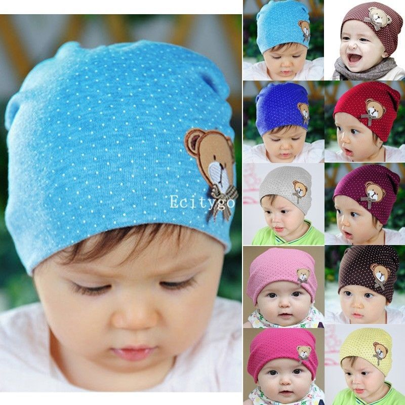 20x 2014 Fashion New New Newborn Infant Toddler Girl Boy Baby Cap Cute Polka Dot Beanie Cotton Hat 10 Colors