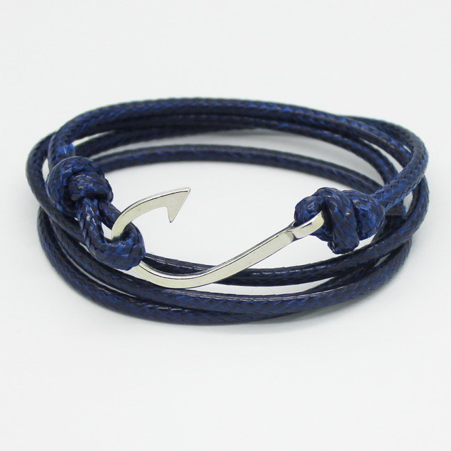 New Fashion Retro Leather Bracelets for men Popular Charismatic Personality bandages Toggle clasps Anchor bracelets Blue