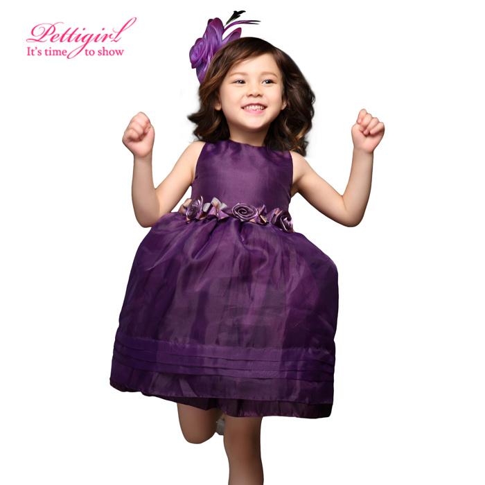 2016 Elegant Pettigirl Sleeveless Purple Girl Flower Party Princess Ball Gown Dress Kids Wedding Clothes Retail - Little Miss Apparel Co.Ltd. store