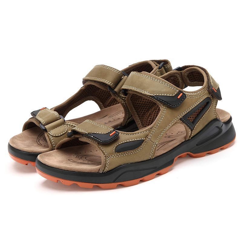 2015 New Mens Genuine Leather Sandals Slippers Flat Outdoor Shoes Male Cowhide Casual Dual-use Ankle-wrap Promotion509 - iLoveSIA store