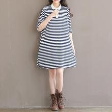 2016 New Spring Women Full SleeveTurn-down Collar Loose Type Knitted Striped Dress