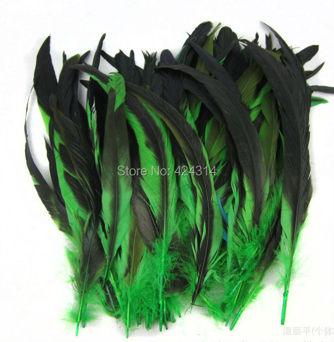 10 12-14 inches 30-35cm Green Saddle coque Feather dyeing rooster tail feathers cock feather - Franco Trading store