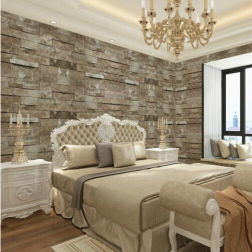 Wallpaper retro modern ledgestone reclaimed wall brick stone effect wallpaper - Revetement mural original ...