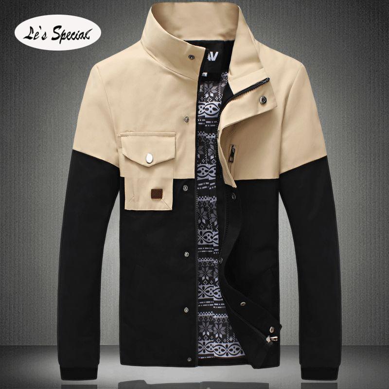 2015 Jackets Men Stand Collar Spliced Slim Fit Stylish Mens Jackets Outdoor Sport Jacket Windbreaker Size M-5XL Mens Clothing(China (Mainland))