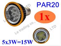 1Pcs/lot Par20 Led Lamp E27 Dimmable 5X3W 15W Spotlight Led Light Led Bulbs 85V-265V Energy Saving Free shipping