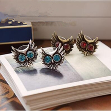 ER141 European and American retro luxury crystal blue eyes owl Stud Earrings for Women jewelry accessories