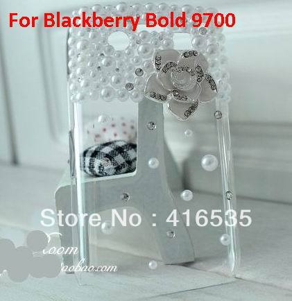 Fashion Lovely Gift 10PC Diamond crystal Pearl Butterfly Bling Hard skin Back Case For Blackberry 9700 Freeshipping&Wholesale(China (Mainland))