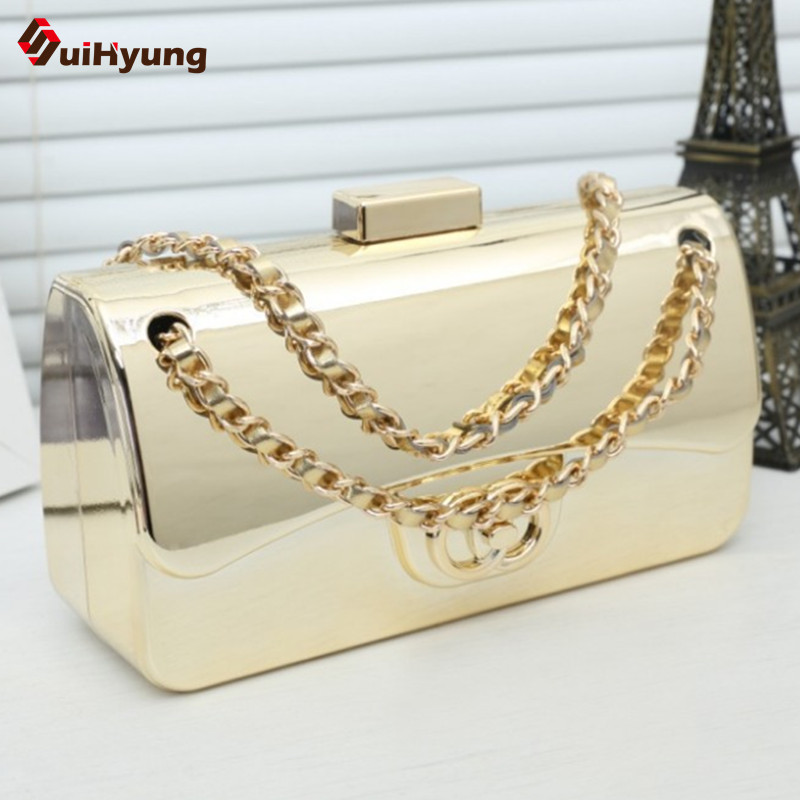 2016 New Women Hard Case Clutch Bag Gold Alloy Fashion Party Evening Bag Day Clutches Tote Ladies Shoulder Messenger Bag Handbag(China (Mainland))