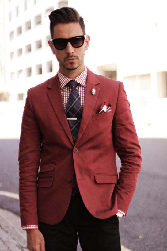 Tailor wine red wool suit for men single breasted slim fit for Mens red wool shirt