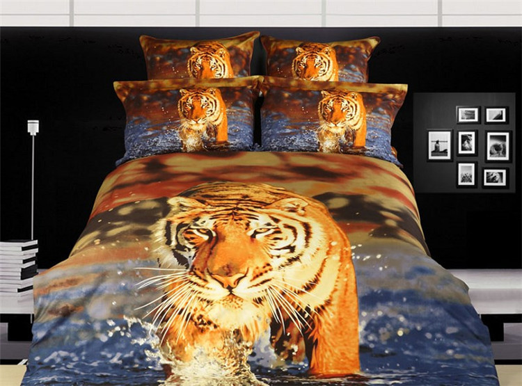 2014 tiger animal printing 3D bedding cotton comforters cover king queen home textile bed in a bag quilt duvet covers sets B2663(China (Mainland))