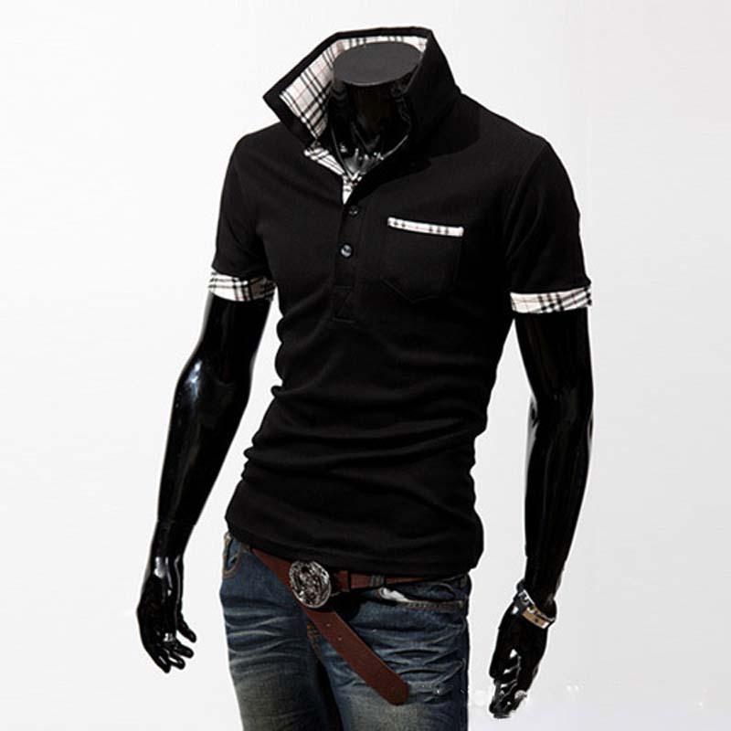 2014 Hot Sale New Mens Shirts short sleeve Casual Slim plaid collar Fashion Shirts LL025