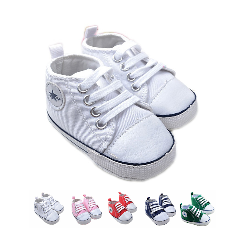Hot sale toddle baby first walker shoes canvas star style cotton soft sole t-tied newborn baby boy shoes 5 colors