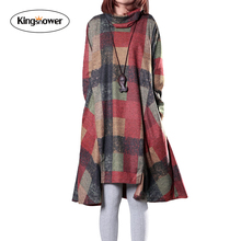 2016 Large Size Women Loose Irregular Boho Cotton Linen Blend Elbise Dress Collar Wool Dress Female Long Sleeve Sundress J1079