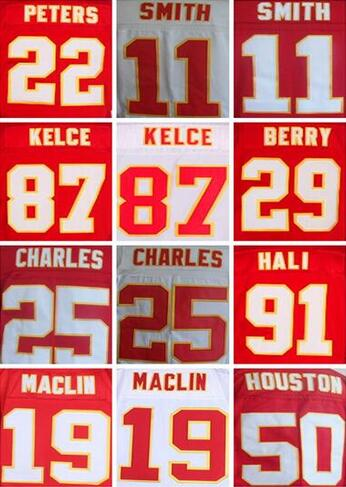Best quality jersey,Men's 11 Alex Smith 19 Jeremy Maclin 25 Jamaal Charles 87 Travis Kelce jersey Free shipping(China (Mainland))