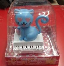 Free shipping via EMS  10pcs per lot    solar novelty  energy gift   blue cat  head nodding shaking tail under sunshine(China (Mainland))