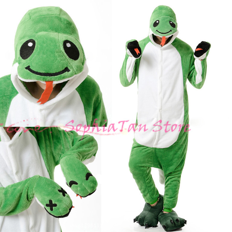 Anime Animal Snake Onesie For Adult Women Men Pajamas Costume Cosplay Christmas Halloween Dress Party Flannel Outwear/Sleepers(China (Mainland))