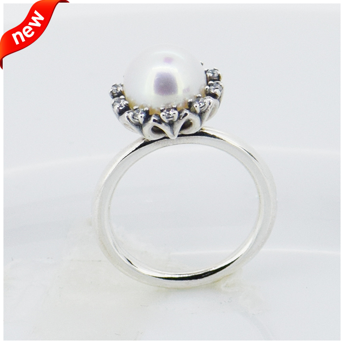 Compatible with European Jewelry white freshwater cultured pear Silver Ring Newest 100% 925 Sterling Silver Ring Wholesale DIY(China (Mainland))