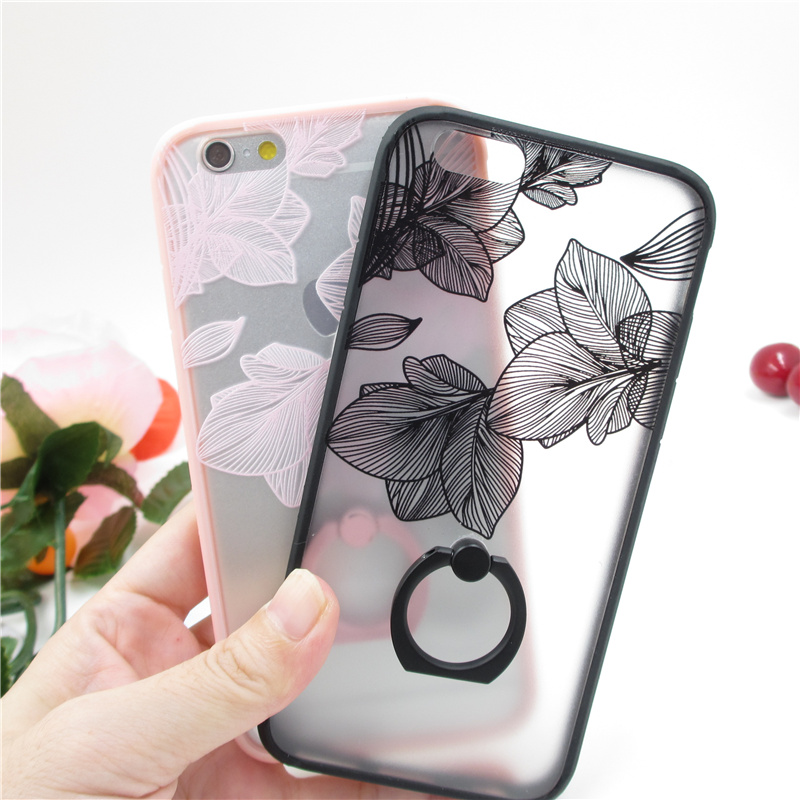 Newest Capa coque secret Black Lace leaf flower Pattern Case For iPhone 6 6s 6plus 6splus Ring holder Hard Back Cover(China (Mainland))