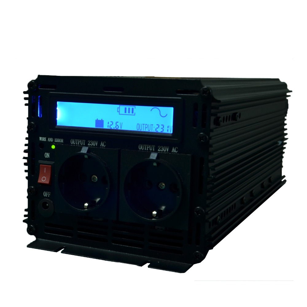 Most Advanced LCD Display 2500W PURE SINE WAVE INVERTER 12VDC to 220VAC(5000W PEAK)DC To AC outdoor home frequency inverter(China (Mainland))