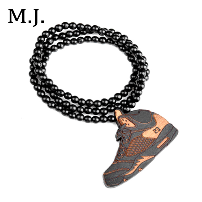 Fashion Colares Bijuterias Hip Hop Wood Basketball Shoe Pendant Necklace Men Boho Beads Long Chain Shoes Necklace Collar Jewelry(China (Mainland))