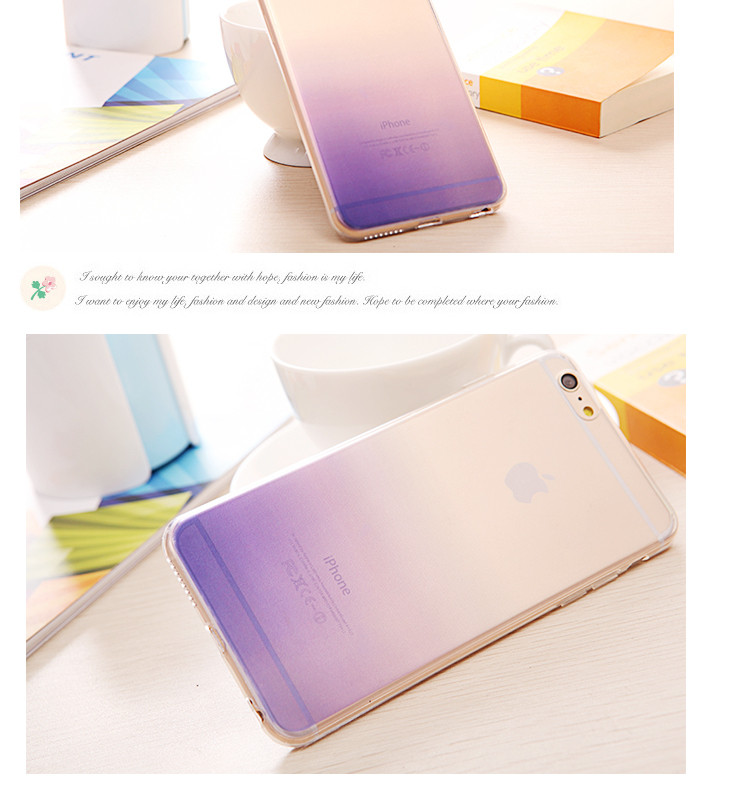Original Simple Clear Color Gradient Silicone Cover Case For Apple iPhone 5 5S SE /6 6S / 6Plus 6SP Ultrathin Phone Back Case