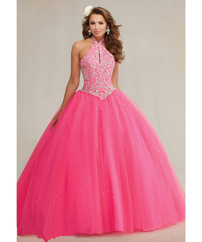 2016 Fuchsia Quinceanera Dresses Halter Beaded Embroidery Backless Sweet 15 vestido de quinceanera - ETDRESS Store store
