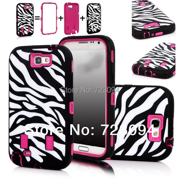 Case for Samsung Galaxy Note 2 II N7100 New Luxury Full Body Protector Zebra Hybrid Armor Shockproof Silicone Case Cover Pink(China (Mainland))