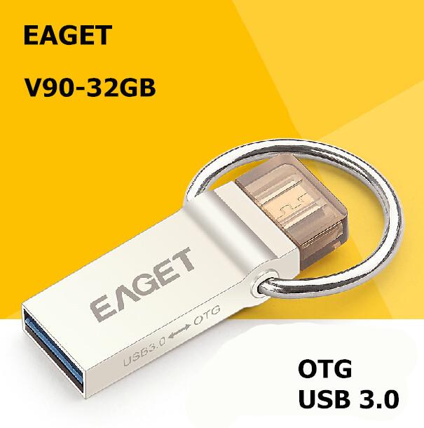 EAGET V90 USB 3.0 100% 32GB Smart Phone Tablet PC USB Flash Drives OTG External Storage Micro 32g Pen Drive Memory Stick(China (Mainland))