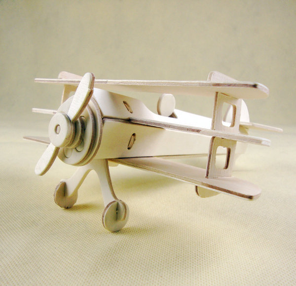 Scale Educational Toys Wooden Miniature Jigsaw Model DIY Spowith Triplane(China (Mainland))