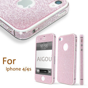 New Luxury Front + Back Full Body Golden Shining Silver Blingbling Silver Sticker for iPhone 4 4s Free shipping for iphone4s