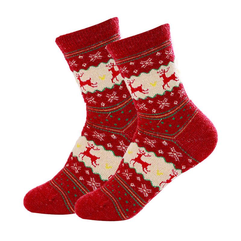 Women Winter Socks Christmas Warm Wool Sock Cute Snowflake Deer Comfortable(China (Mainland))