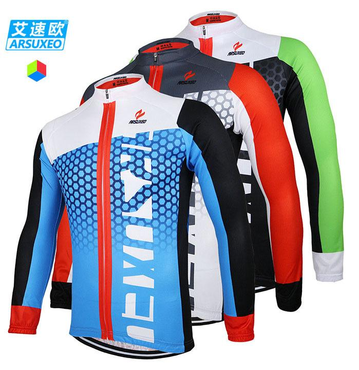 2015 ARSUXEO Men Cycling Jersey Bike Bicycle Long Sleeves Mountaion MTB Jersey Clothing Shirts ZLJ21-Q