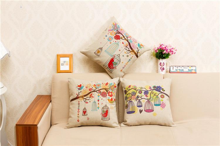 Birdcage Pillow Case Square Soft Coussins Linen Chair Decorative Cushion Covers Joyous Traditional Chinese Birdcage Pillow Case(China (Mainland))