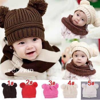 HOT SALE 2015 New Cute Baby Winter Knitted Warm Cap Boy Lovely Beanie Girls' Hats For Children Accessories